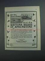 1927 Daytona Beach Florida Ad - On East Coast