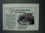 1927 Johnson Outboard Motors Ad - Fish are Striking