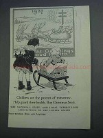 1927 Tuberculosis Associations Christmas Seals Ad - Children