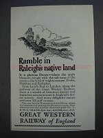 1927 Great Western Railway of England Ad - Raleigh's