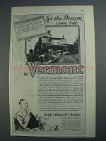 1926 Vermont Tourism Ad - Let Dream Come True
