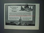 1915 A.B.A. Cheques Ad - See America On