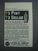 1915 3-in-One Oil Ad - 1/2 Pint 1/2 Dollar