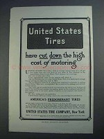 1913 United States Tires Ad - Cut Down High Cost