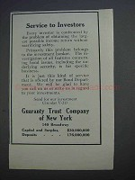 1913 Guaranty Trust Company of New York Ad - Service to Investors