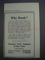 1913 Guaranty Trust Company of New York Ad - Why Bonds?