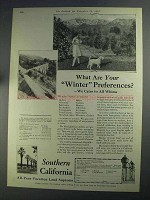 1925 Southern California Ad - Winter Preferences?
