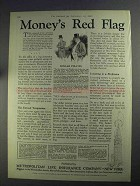 1925 Metropolitan Life Insurance Ad - Money's Red Flag