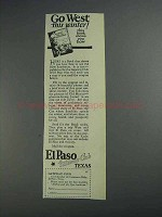 1925 El Paso Texas Ad - Go West This Winter!