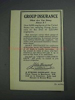 1925 John Hancock Life Insurance Ad - Group Insurance