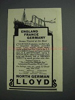 1925 North German Lloyd Cruise Ad - England France Germany