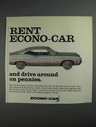 1968 Econo-Car Rental Ad - Worth Over $1000 a Seat