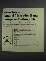 1968 Mercedes-Benz Cars Ad - European Delivery Kit