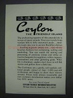 1968 Ceylon Tourism Ad - The Friendly Island