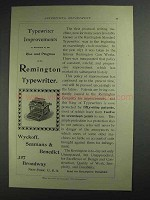 1892 Remington Standard Typewriter Ad - Improvements