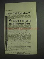 1892 Waterman Ideal Fountain Pens Ad - Old Reliable