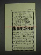 1892 Columbia Bicycle Ad - Nature's Heart