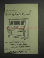 1892 Vose & Sons Pianos Ad
