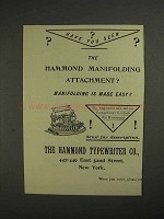 1892 Hammond Typewriter Ad - Manifolding Attachment
