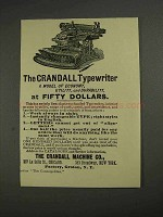 1892 Crandall Typewriter Ad - Model of Economy