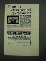 1932 Scott All-Wave Radio Receiver Ad - Tune In