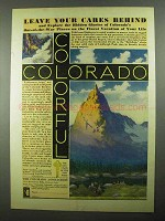 1931 Colorado Tourism Ad - Leave Your Cares Behind