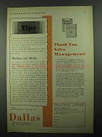 1931 Dallas Texas Ad - Thank You Sales Management