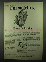 1931 General American Tank Car Ad - Fresh Milk