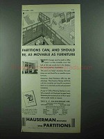 1931 Hauserman Partitions Ad - Movable as Furniture