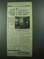 1931 Hauserman Partitions Ad - Easy To Live With