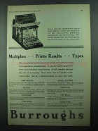 1931 Burroughs Adding Machine Ad - Multiplies Prints