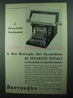 1931 Burroughs Typewriter Accounting Machine Ad - Development