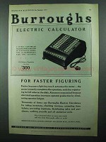 1931 Burroughs Electric Calculator Ad - Faster Figuring