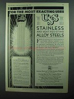 1931 US. Steel Chromium-Alloy Chromium-Nickel Steel Ad