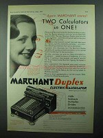 1931 Marchant Duplex Electric Calculator Ad - Scores!