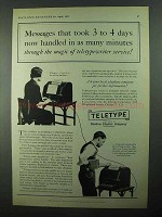 1931 Teletype Corporation Ad - Messages in Minutes