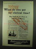 1931 Addressograph Company Ad - Get for Clerical Time