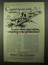 1931 Pneumatic Scale Special Production Machines Ad - Crippled