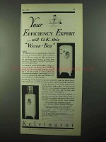 1931 Kelvinator Water Cooler Ad - Efficiency Expert