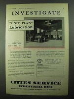 1931 Cities Service Industrial Oils Ad - Investigate