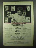 1931 Pneumatic Scale Packaging Machinery Ad - Cereals
