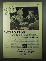 1931 Postal Telegraph Ad - Attention