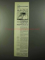 1931 Matson Line Ad - Sail on the Magnificent Malolo