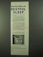 1931 Kellogg's Kaffee Hag coffee Ad - Restful Sleep