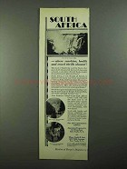 1931 South Africa Tourism Ad - Sunshine, Health