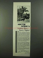 1931 South Africa Tourism Ad, Golden Days Starry Nights