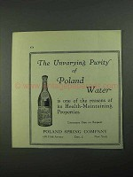 1931 Poland Spring Water Ad - Unvarying Purity