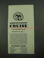 1931 Matson Line Ad - Finds Adventure