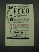 1931 Grace Line Ad - 23 Day All-Expense Cruise to Peru