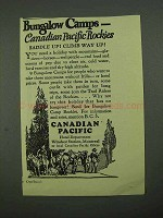 1926 Canadian Pacific Ad - Bungalow Camps